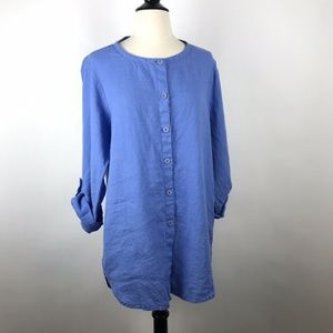 Blue Periwinkle Flax Linen Oversized Tunic Top